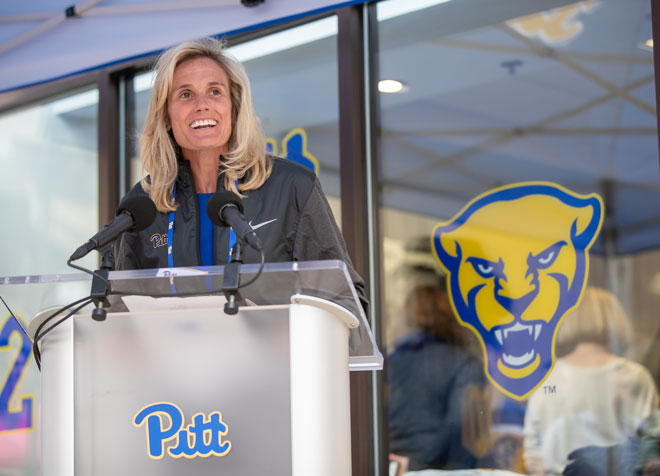 9adcc149acf Director of Athletics Heather Lyke spoke at the grand opening of the new  Nike Store at The Pitt Shop. (Alex Mowrey/Pitt Athletics/University of  Pittsburgh)