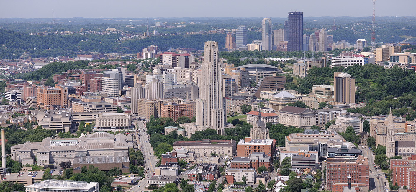 The Cathedral of Learning and Pittsburgh Campus with a view downtown.