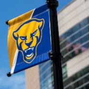 Pitt Panther mascot head on a banner