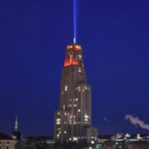 The Cathedral of Learning with its victory lights on