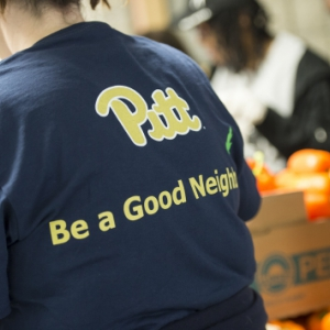 Back of a Pitt Day of Caring t-shirt