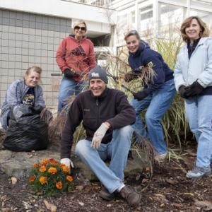 Group photo of volunteers working outside