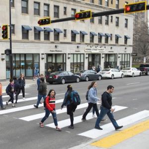 pedestrian crosswalk on Forbes Avenue