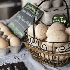 Chicken and turkey eggs on a Farmers Market table