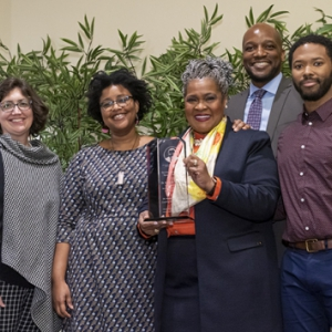 From left: Interim Vice Chancellor for Diversity and Inclusion Katie Pope; Scholar Mentor and Equipoise Co-chair Lesha Greene; Senior Vice Chancellor for Engagement and Secretary of the Board of Trustees Kathy Humphrey; Vice Provost and Dean of Students Kenyon Bonner; and  Steven Jones, special events staff member and Equipoise co-chair.