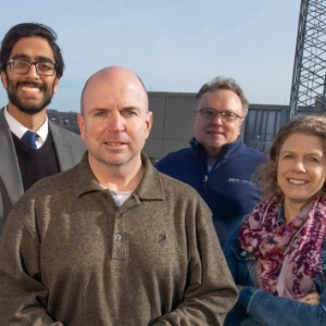 Ravi Patel, lead innovation advisor in the School of Pharmacy; John Donehoo, clinical pharmacist at UPMC and program collaborator; David Vorp, associate dean for research and William Kepler Whiteford Professor of Bioengineering; and Kerry Empey, associate professor of pharmacy and therapeutics