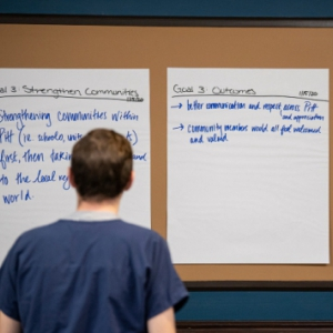 Ideas for Plan for Pitt 2025 on a board