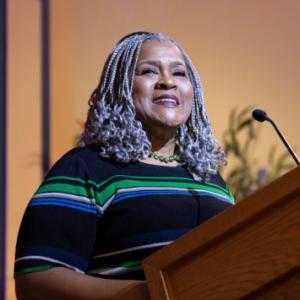 Kathy Humphrey speaks at the Community Engaged Scholarship Forum