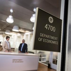 The Department of Economics door sign