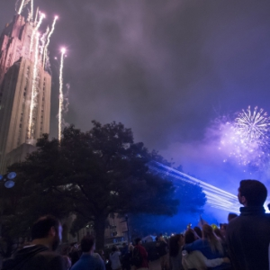 Fireworks outside of Pitt's Cathedral of Learning