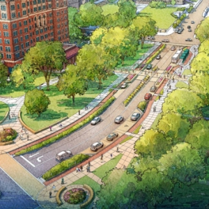 A graphic illustration of the Bigelow Boulevard enhancement project