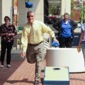 The Office of Human Resources held a bean bag toss tournament outside their offices at Craig Hall.