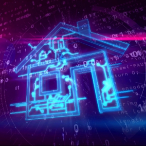 Stock illustration of a house drawn by lasers and computer code