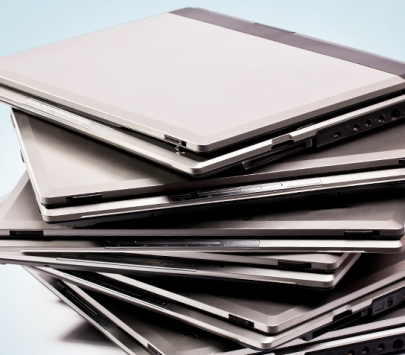 A stack of laptops
